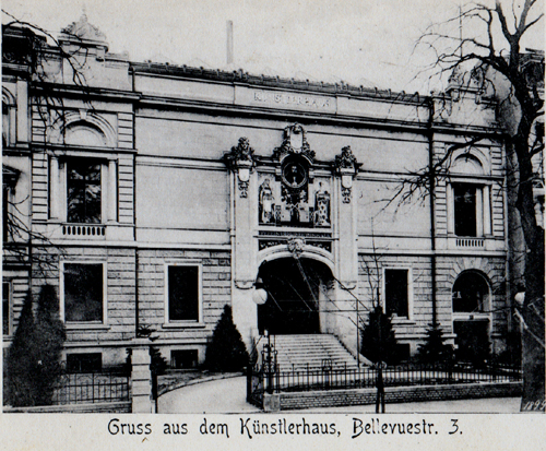 B&W photograph of the front facade of the Kunsterhaus, Berlin (from a postcard)