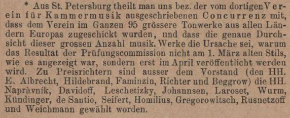 Facsimile of the announcement that the result of the competition would not be announced until April 1878 (Musikalisches Wochenblatt, IX/13 (22 March 1878), 164)