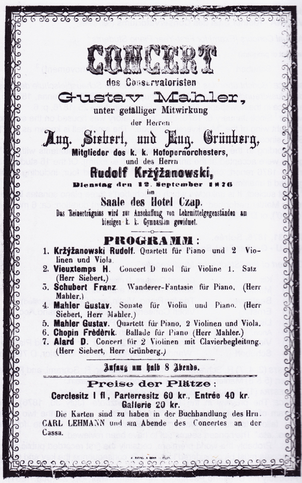 Facsimile of the handbill for the concert at the Czap Hotel, Iglau, on 12 September 1876