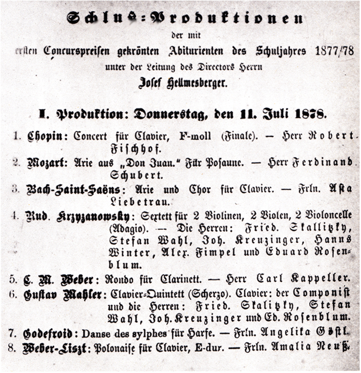 Black and white facsimile of the programme of the first concert of graduation performances, given on 11 July 1878
