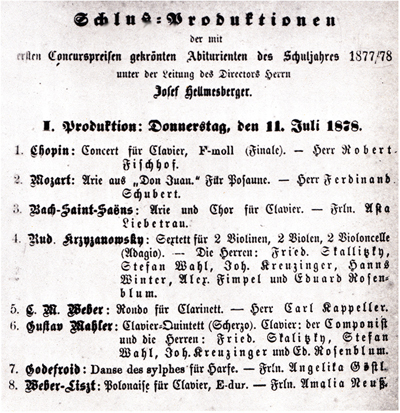 Facsimile of the printed Programme for the first concert of Schluß-Produktion, 11 July 1878