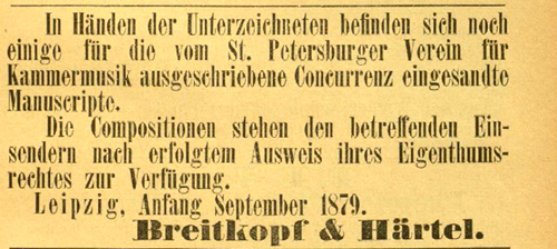 Coulour facsimile of the notice placed in the Signale für die musikalische Welt by Breitkopf & Härtel.