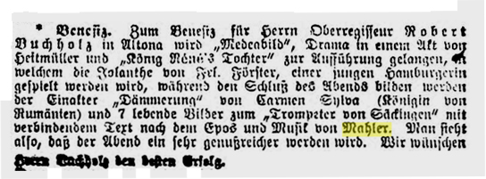 Facsimile of the announcement of the performance of Der Trompeter von Sakkingen with the music by Mahler in 1889 (General-Anzeiger für Hamburg-Altona, 95 (24 April 1889), 2–3)