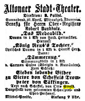 Facsimile of the announcement of the performance of Der Trompeter von Sakkingen with the music by Mahler in 1889 (General-Anzeiger für Hamburg-Altona, 26 & 27 April 1889, 8)