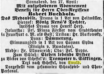 Facsimile of the announcement of the performance of Der Trompeter von Sakkingen with the music by Mahler in 1889 (Hamburger Nachtrichten, 21 April 1889 (Morgen-Ausgabe), 20)