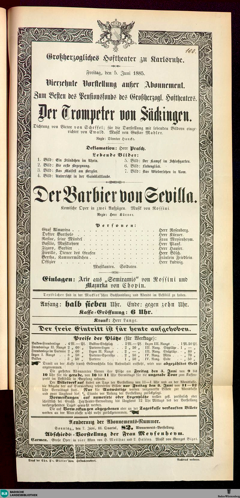 Colour facsimile of the handbill for the benefit performance at the Großherzogliches Hoftheater zu Karlsruhe, on 4 June 1885