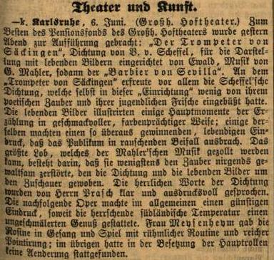 Colour facsimile of the review of the Karlsruhe perfomance of Der Trompeter von Sakkingen with music by Mahler, on 5 June 1885 (Karlsruher Zeitung, 7 June 1885, p. 3)