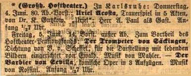 Colour facsimile of the listing for the Karlsruhe perfomance of Der Trompeter von Sakkingen with music by Mahler, on 5 June 1885 (Karlsruher Zeitung, 4 June 1885, p. 3)
