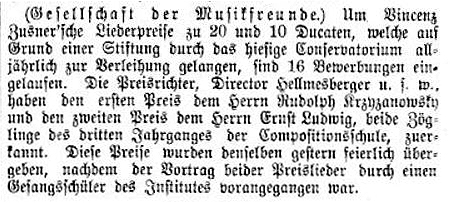 Facsimile of a press report of the result of the 1878 Zusner Competition.