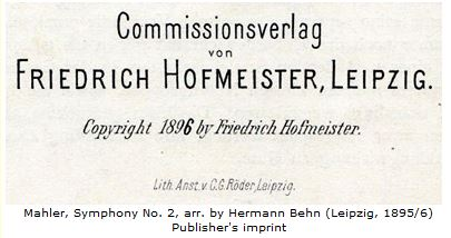 Detail from the title page of Behn's arrangement of Mahler's Second Symphony