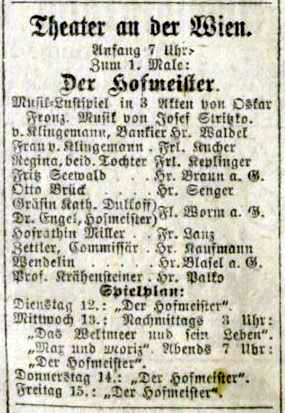 b&w scan of the advertisement for the first night of Stritko's operetta, Der Hofmeister, on 11 March, 1901.