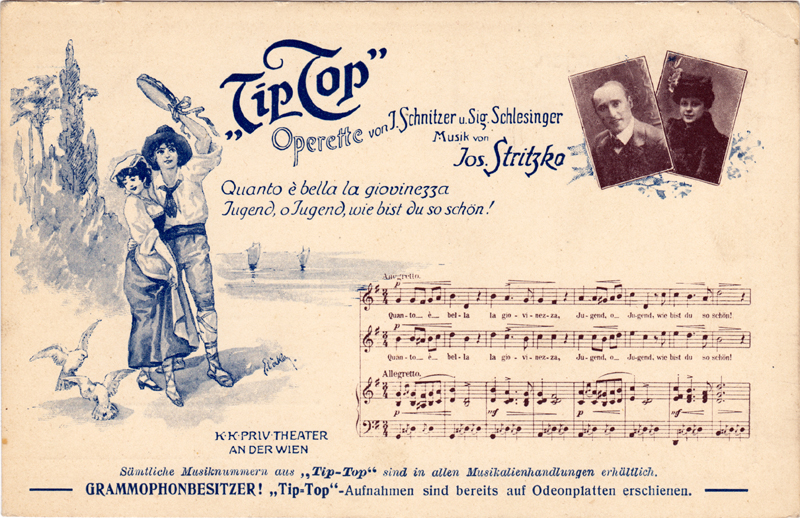 Colour image of a postcard advertising Tip-Top;Includes two photographs (unidentified), an illustration, and the opening of the vocal score of the number Quanto è bella la gioviezza