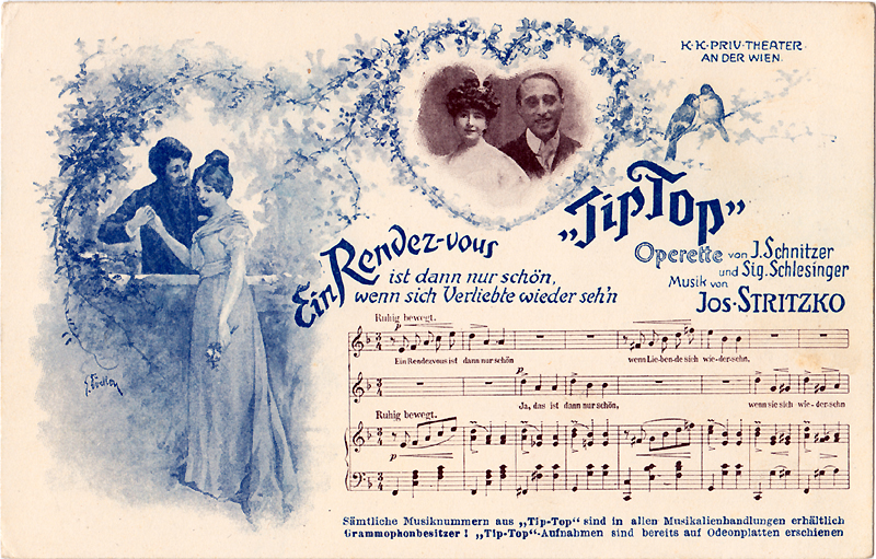 Two-colour postcard advertising Stritzko's Tip-Top (c. 1907); Includes a photograph (unidentified man and woman), images and the opening of tghe vocal score of the number Ein Rendez-vous...