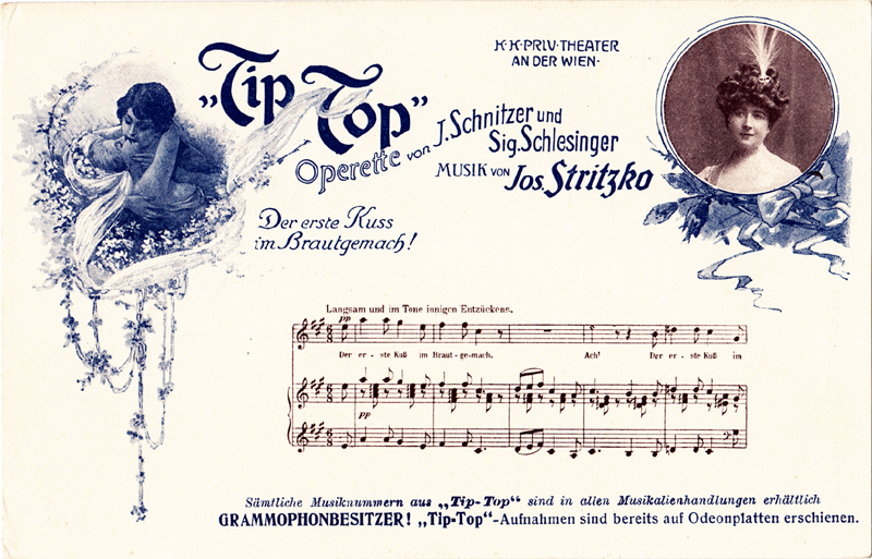 Two-colour postcard advertising Stritzko's Tip-Top (c. 1907); Includes a photograph (probably of Mizzi Wirth), images and the vocal score of an extract from Dolly's Traumlied