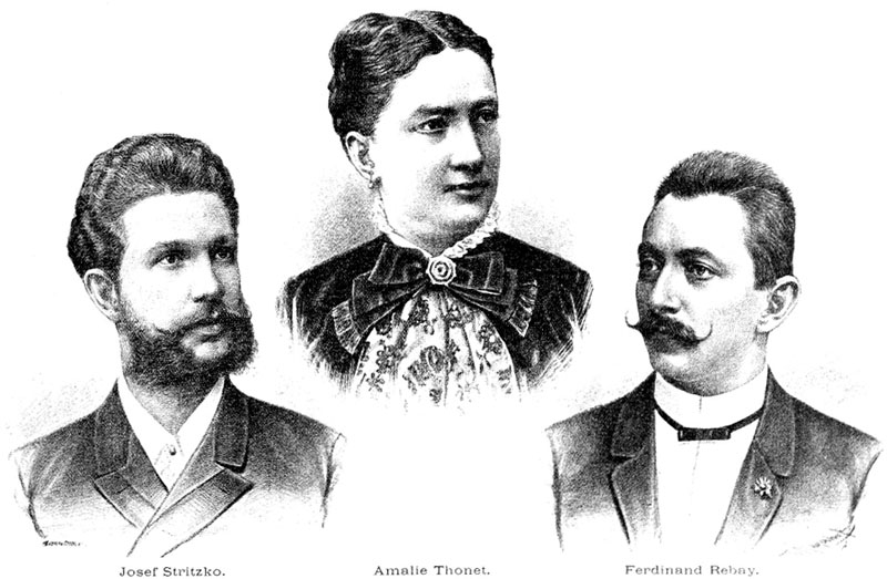 facsimile of a b&w lithograph showing head and shoulder portraits of Josef Stritzko, Amalie Thonet and Ferdinand Rebay.