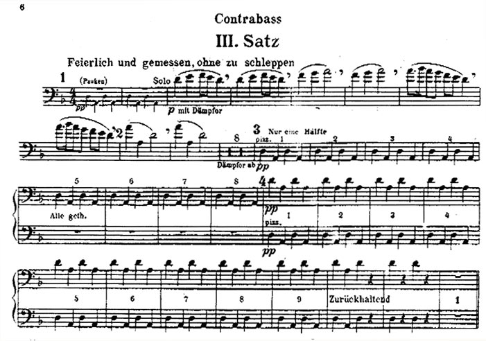 facsimile of the opening of the double bass part for the third movement in the second edition of the orchestral parts