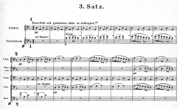 facsimile of the opening two systems at the begining of the third movement in the second edition of the full score of Mahler's First Symphony