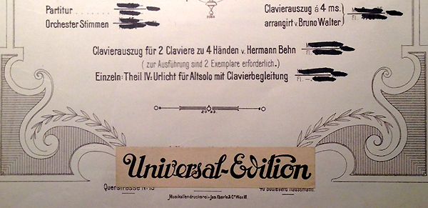 A colour facsimile of the Universal Edition paste-over on the title page of a copy of the third isssue of the full score of Mahler's Second Symphony
