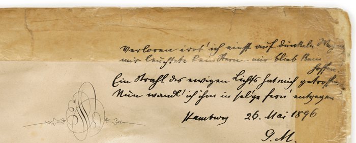 Colour facsimile of the top right-hand corner of the title page of APV1, showing Mahler's presentation poem, signed and dated